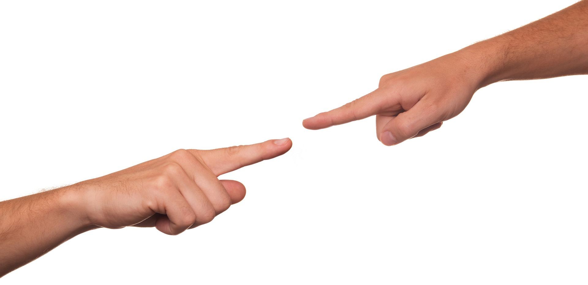 two hands pointing at each other in accusation