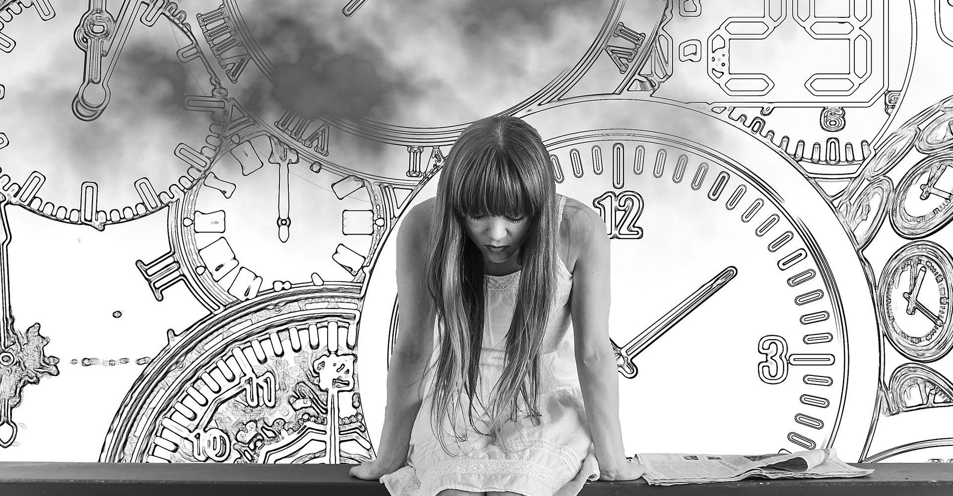 A woman looking at the floor with many clocks drawn behind her