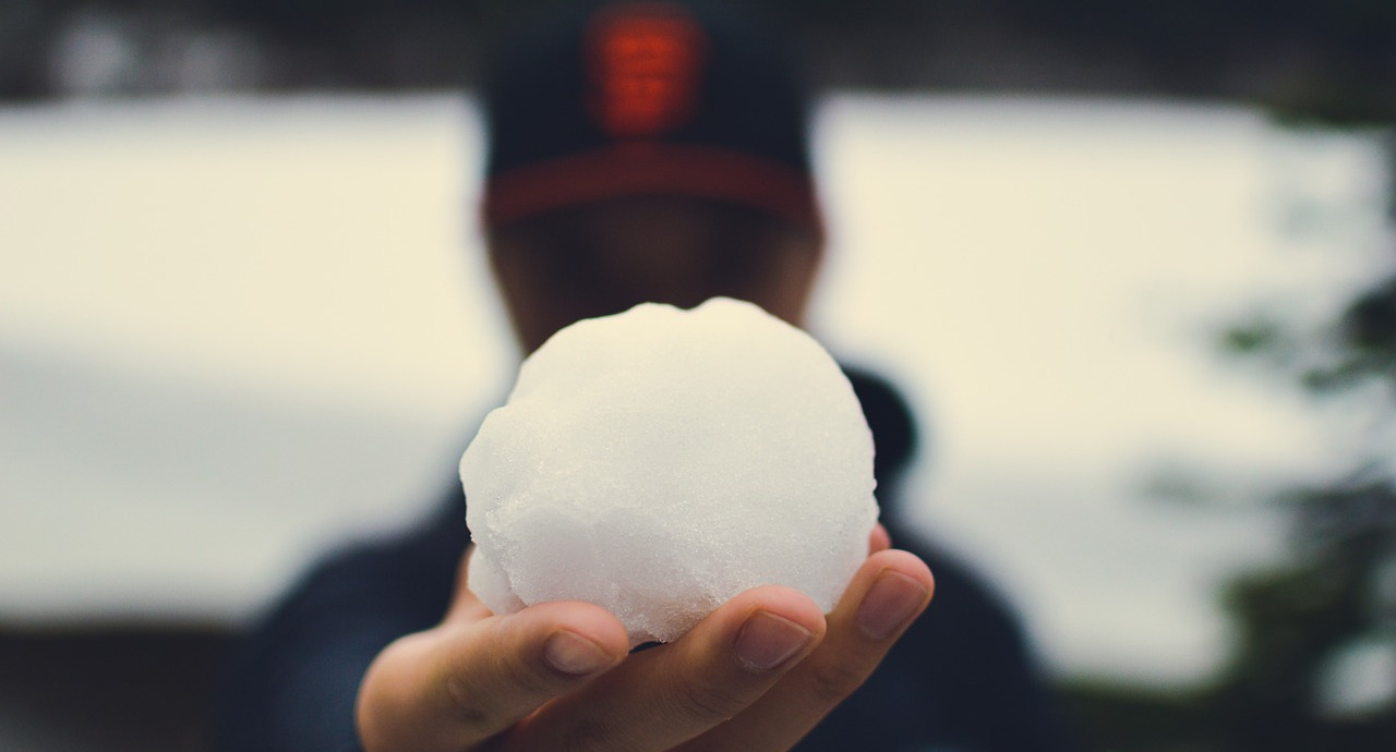 A man holding up a snowball for display